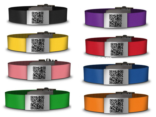 Medical silicone qr bracelet /id bracelet /silicone wristbands with custom color logo