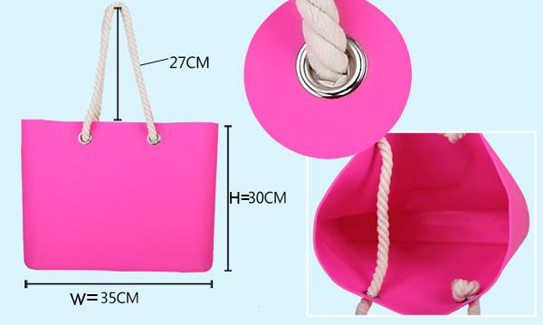 Silicone beachs bag with cotton rope / silicone shopping beach bags /beach shoulder bags