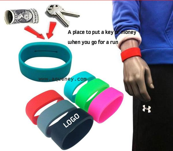 High quality custom silicone Arm Pocket Band, Silicone Wristband With Pocket