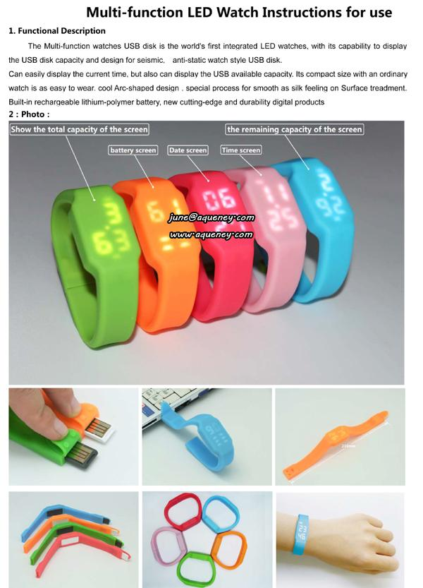 Wristband 1GB~32GB USB with LED Watch for Christmas