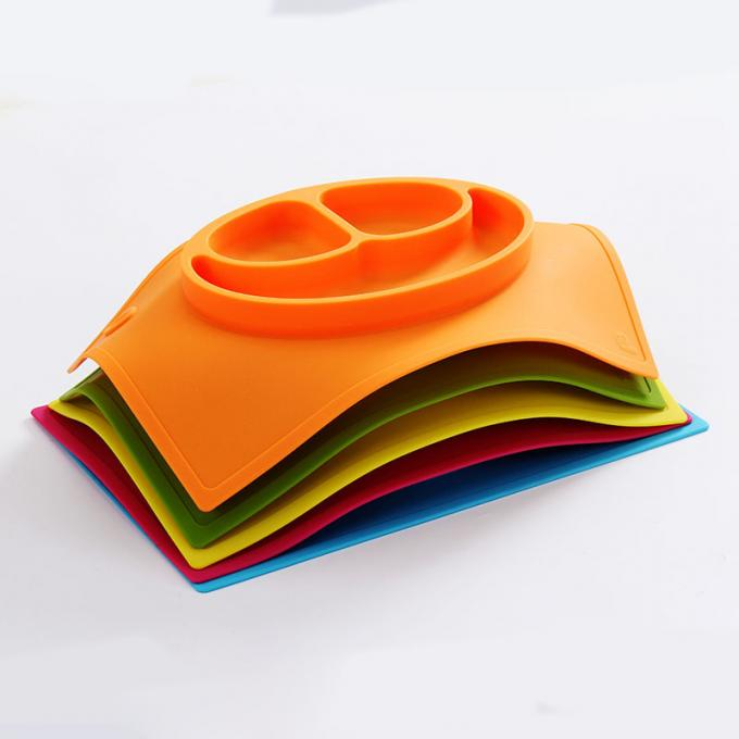 Recycled colorful silicone baby food grade plate non-toxic silicone baby plate with logo embossed
