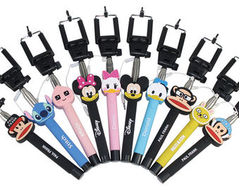 Wholesale cartoon selfie stick, cartoon monopod for IPhone, Samsung and any smart phone