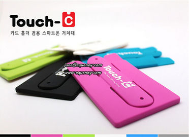 Wholesale good quality silicone smart phone wallet with stand with 3M sticker